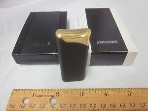 Vtg-NOS-Butane-Sarome-Cigarette-Cigar-Lighter-Tobacciana-Torch-Black-Goldtone