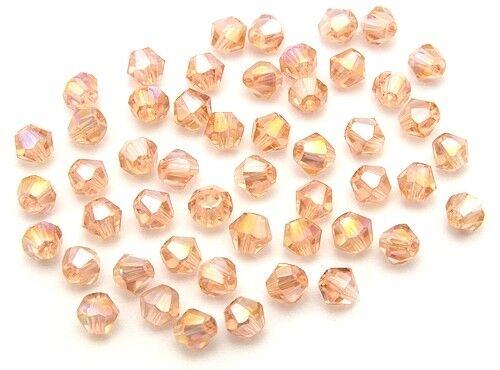 4mm salmón a partir de 50stk Bicone vidrio esmerilado perlas aprox