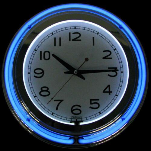 "14/"" Neon wall clock retro Battery operated Wall clock Vintage Bar Garage Kitchen"