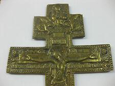 Russische Metalikone Segenkreuz 19 Jahrhundert Bronze Ikone Kreutz Orthodox