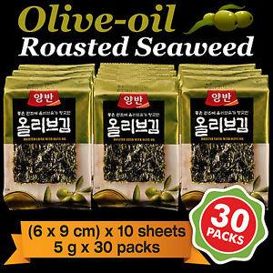 Korean-Food-Seaweed-Snack-Olive-oil-Roasted-Seasoned-Laver-Nori-Gim-Kim-30-Packs