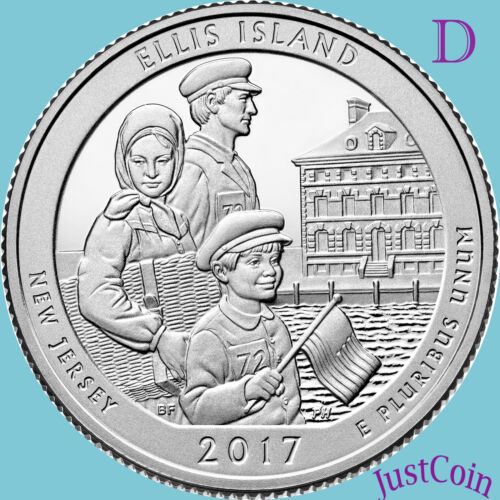 NJ QUARTER UNCIRCULATED STATUE OF LIBERTY 2017-D ELLIS ISLAND