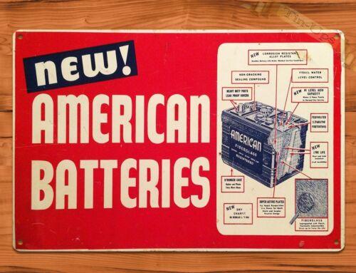 "TIN SIGN /""American Batteries"" Garage Auto Car Parts Rustic Wall Decor"