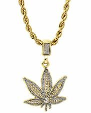 "Mens Gold Plated Si Dust Marijuana Hip-Hop Pendant 24"" Rope Chain Necklace D455"