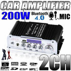 Bluetooth 200 Watt 2-Channel Mini High FI Amplifier Car Boat Home Amp + Power