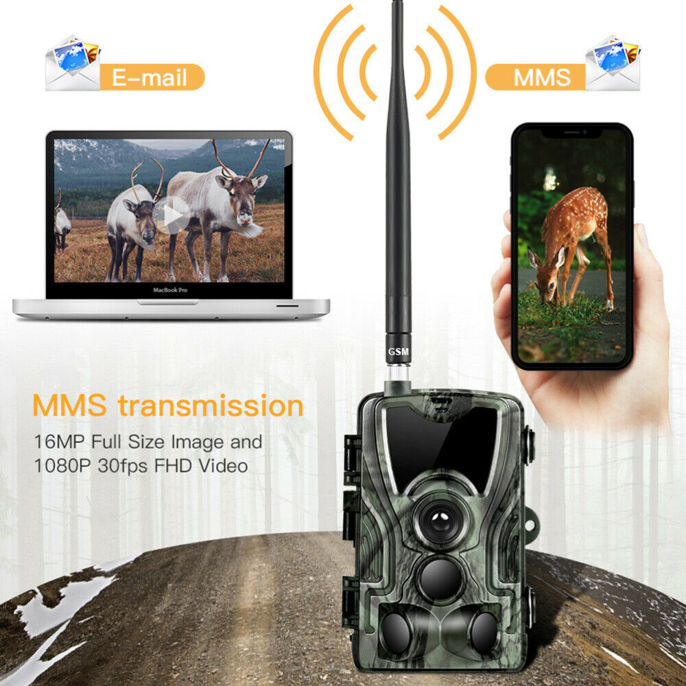 16MP Wildkamera 1080P Jagdkamera MMS GPRS GSM SMTP SMS Wasserdicht Nachtsicht