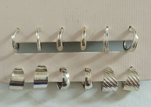 Aro Pendientes 6pk Conjunto de Color Plata BNWT
