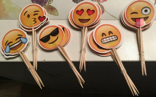 24x Picker elle Topper Cupcake Muffins 6 diff sourires Smiley A/' 4 pièces