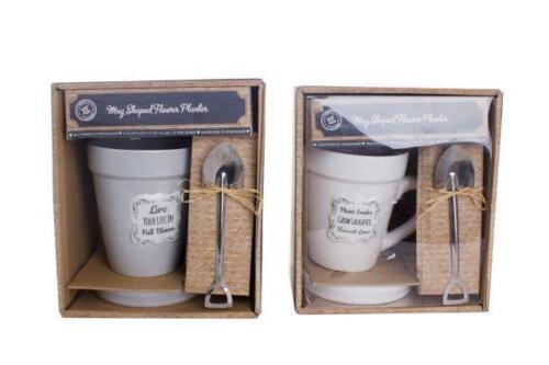 Grey Cream Flower Planter Pot Ceramic Tea Coffee Mug Saucer Set Gardeners Gift