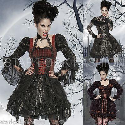 Vampir-Kostüm Damen Mittelalter Kostüm Karneval Fasching Gothic Kleid Dracula