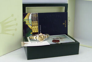 ROLEX Ladies 18kt Gold & SS DateJust Champagne Concentric Dial 179163 SANT BLANC