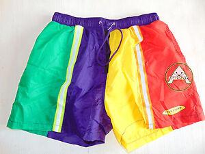 Vintage-80-90-DUBIN-Boxer-XXL-56-Shorts-Costume-Beach-Pantaloncini-Viola-Giallo