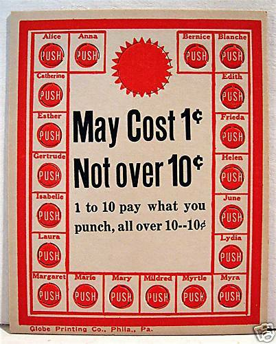 1950 May Cost 1 Cent To 10 Cent Punch Board Old Stock