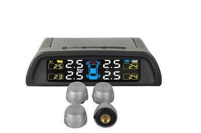 Solar Wireless TPMS Car Tire Pressure LCD Monitoring System + 4 External Sensors