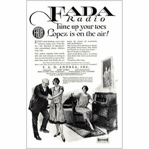 1925 Fada Radio: Tune Up Your Toes Lopez Is On The Air Vintage Print Ad