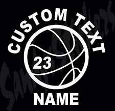 Personalized Basketball Vinyl Decal Sticker - Many Colors - Custom - Team Sports