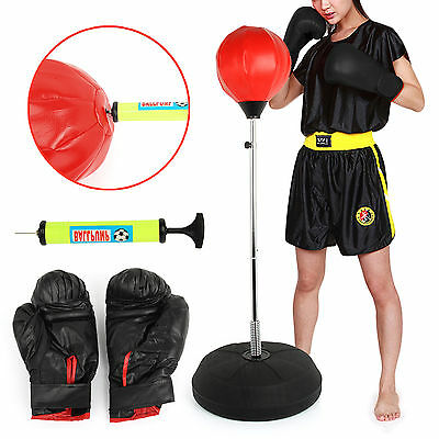 PUNCH BAG BALL AND MITTS GLOVES KIT BOXING SET FOR ADULT FREE STANDING NEW BOXED
