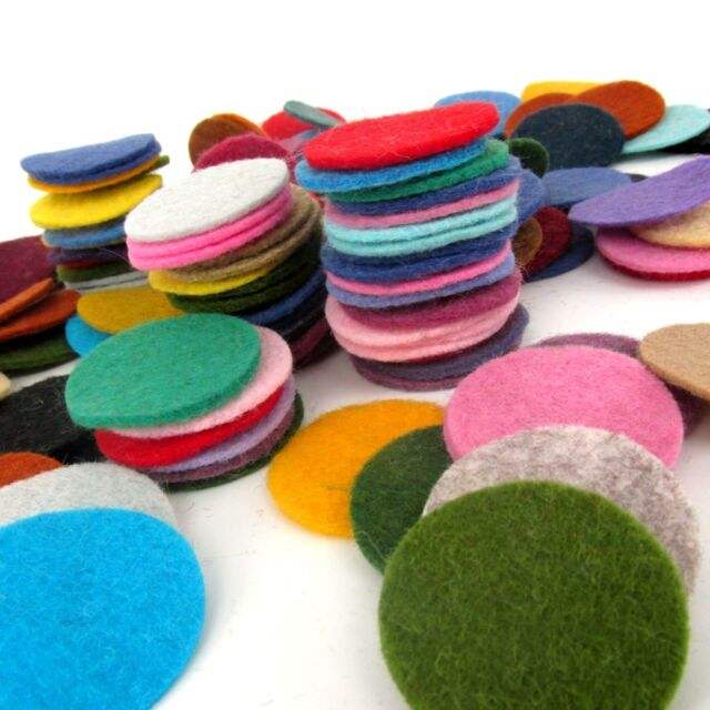 """128 Wool Felt 1"""" Circle Die Cuts - Penny rug - Bow Making - Mixed colors"""