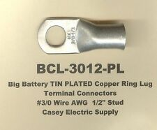 5 Big Tin Plated Copper Ring Lug Terminal Connector 30 Wire Gauge 12 Std
