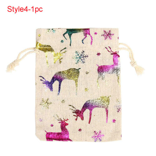 Wedding Favor Candy Organizer Merry Christmas Jute Gift Bags Drawstring Pouch