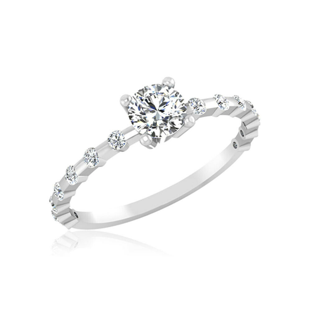 0.50Ct Round Cut Diamond Solitaire 14K Solid White gold Wedding Rings