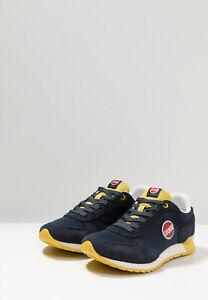 Dettagli su Sneakers Uomo Colmar Travis Colors Scarpe Pelle Scamosciata Blu Gialle Nuove