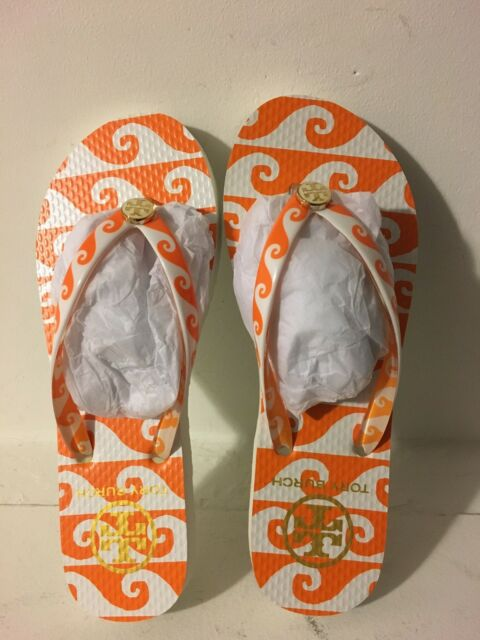 180fef34b868f Size 5 NEW Tory Burch Wave Print Orange Groove Flip Flop Sandal Reva