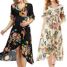 Women Maternity V Neck Floral Dress Pregnant Short Sleeve Summer Party Sun Dress