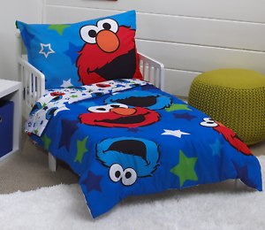 Sesame-Street-Awesome-Buds-Elmo-Cookie-Monster-4-Piece-Toddler-Bed-Set