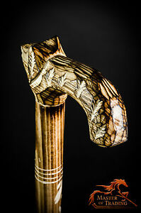 STUNNING ''WOLF'' WOODEN WALKING STICK! DECORATION COVERED BY CARVED ORNAMENTS!