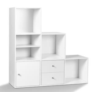 Meuble de rangement en escalier LIAM 3 niveaux bois blanc avec porte et tiroirs