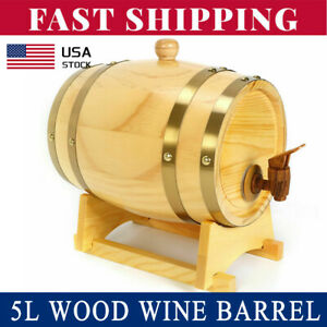 5L-Wood-Pine-Timber-Wine-Barrel-Beer-Whiskey-Rum-Port-Wooden-Keg