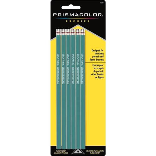 24222 6PC Prismacolor Turquoise Drawing and Sketching Graphite Pencils