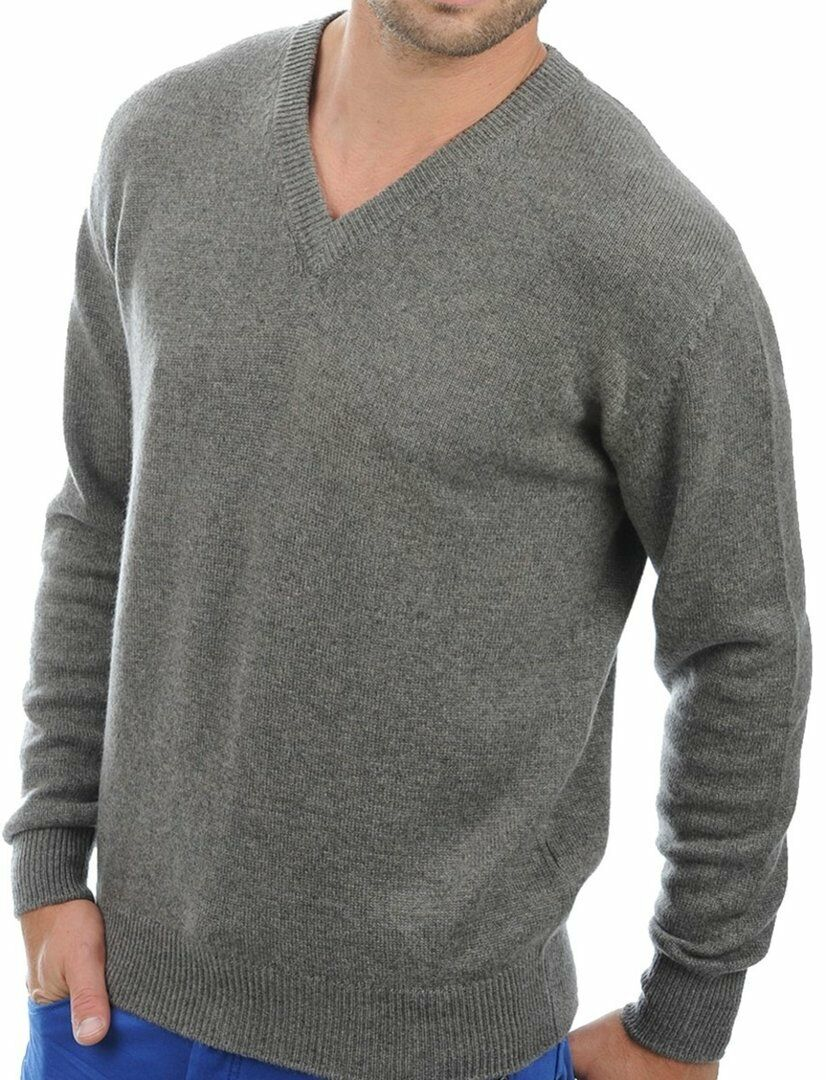 Balldiri 100% Cashmere Herren Pullover V-Ausschnitt 4-fädig graubraun meliert S