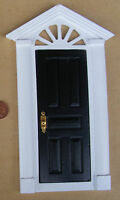 1:12th Black Painted Wooden Fairy Front Door Dolls House Miniature Accessory 95d