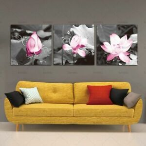 Gorgeous Pink Lotus Blackwhite Wall Art Picture Modern Canvas