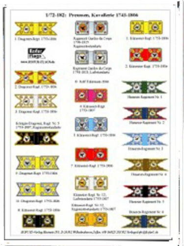 FLAGS Prussian Cavalry 1743-1807 for RegimentS BANDIERE  X SOLDATINI 1//72
