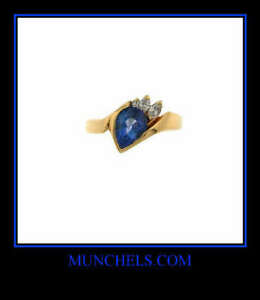 SOLID-14K-YELLOW-GOLD-DIAMOND-AND-PEAR-SHAPE-TANZANITE-RING