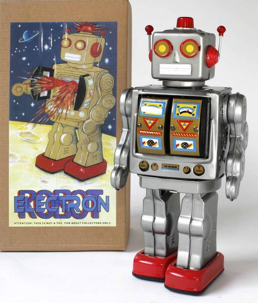 Giocattolo di Latta Robot Mg Robot Elettrone Argento Space Spazio Robot di Latta