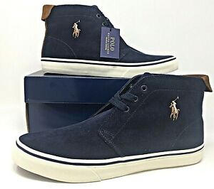 Polo-Ralph-Lauren-Mens-High-Top-Talin-Cordoroy-Navy-White-Casual-Dress-Sneakers