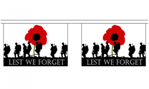 Army Horizontal 10 flag bunting 3 metre long Lest We Forget