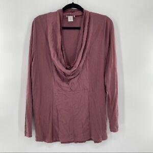 Soft Surroundings Woman's Size Large Cowl Neck Long Sleeve Soft Blouse in Mauve