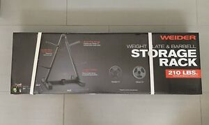 Weider Weight Plate and Barbell Storage Rack Compact Design 210 Lbs Max Weight