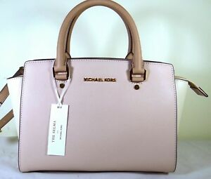 c763cc404613 Image is loading Michael-Kors-Selma-Medium-Colorblock-Softpink-Leather- Satchel-