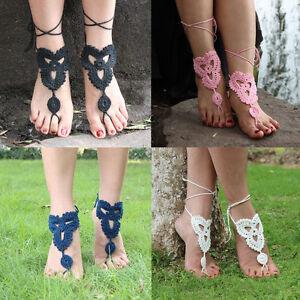 Beautiful Women Barefoot Sandals Cotton Crochet Beach Anklet Chain Foot Bracelet Handmade Fashion Jewelry