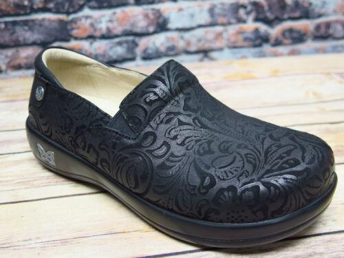 Alegria Keli Black Embossed Paisley Leather Slip On *KEL-431