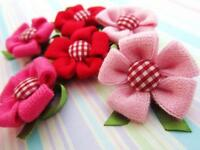 15 Red, Pink, Fuchsia Hand Made Knit Stitch Fabric Brooch Flower/craft H403
