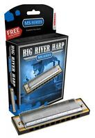 Hohner Big River Harmonica W/ Case, Key Bb, Diatonic, Made In Germany, 590bl-bf