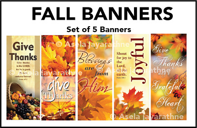 Fall Banners Give Thanks Joyful Blessings are from Him Give Thanks