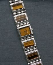 Excessively Heavy 925  Sterling silver Gems TV Tiger Eye Watch up to 7.5 QUALITY